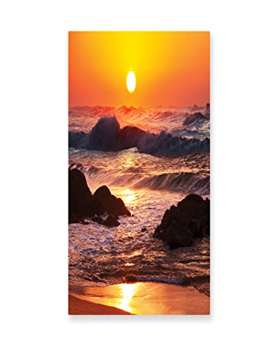 Lunarable Ocean Wall Art, Big Waves in a Stormy Sea Hits to the Rocky Shore at a Sunset Picture, Gloss Aluminium Modern Metal Artwork for Wall Decor, 11.6 W X (Quick Costumes At Home)
