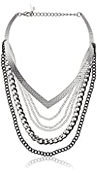 """Steve Madden """"Color Blind"""" Geometric Choker Mixed Multi-Chain Necklace"""