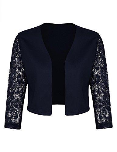 Jacket Wear Cropped (Concep Lace Open Front Cropped Bolero Shrug Cardigan Work Office Blazer Jacket Women (Navy Blue, S))