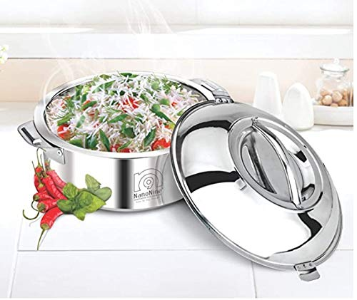 NanoNine Innovative Kitchenware Stainless Steel Serving Casserole, 2.5Litres. Silver