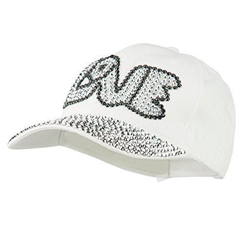 SS/Hat Love Rhinestone Jeweled Baseball Cap - White OSFM