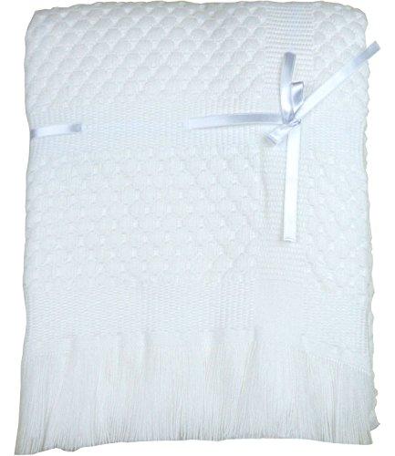 BabyPrem Baby Blanket Shawl Ribbon Fringe Nursery Knitted Large 122 x 122cm White