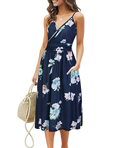 Summer Wardrobe - OUGES Women's Summer Spaghetti Strap V-Neck Floral Short Party Dress with Pockets(Floral11,XXL)