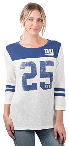Icer Brands NFL New York Giants Women's T-Shirt Vintage 3/4 Long Sleeve Tee Shirt, Large, White
