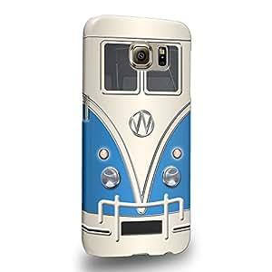 Case88 Premium Designs Art Collections Hand Drawing Retro Bus Mini Van Blue retro Bus Mini Van 1200 Carcasa/Funda dura para el Samsung Galaxy S6 (No S6 Edge !)