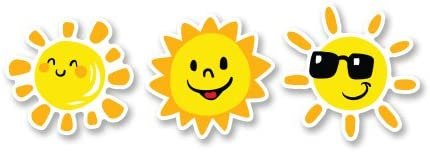 Amazon Com Cute Happy Suns Set Of 3 Vinyl Sticker Select Size Home Kitchen