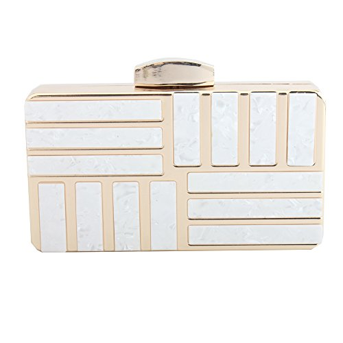 Metal LETODE White of for Bags and Elegant Women Women Designed with Acrylic qrFwrCIZ4B