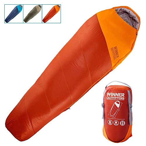 WINNER OUTFITTERS Mummy Sleeping Bag with Compression Sack, Its Portable and Lightweight for 3-4 Season Camping, Hiking, Traveling, Backpacking and Outdoor Activities(Orange,4.5lbs)