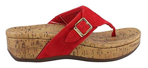 (Vionic Womens Marbella Platform Sandal, Red, Size 7)
