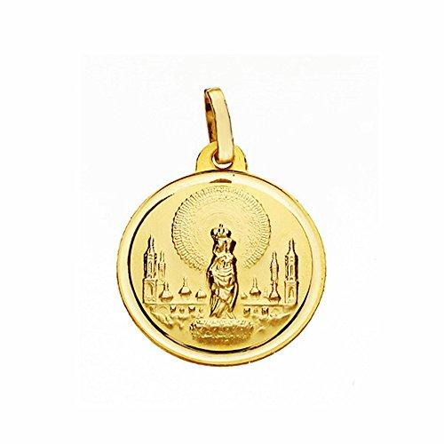 Médaille pendentif or 18k Virgen del Pilar 18mm. lunette lisse [AA2563]
