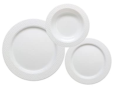 TTG 75-Piece Plastic Dinnerware Set | Hammered Collection | (25) Dinner Plates  sc 1 st  Amazon.com : heavy duty plastic plates for wedding - pezcame.com