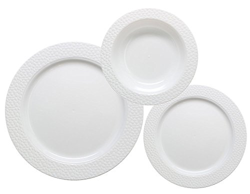 75 Piece Plastic Dinnerware Hammered Collection