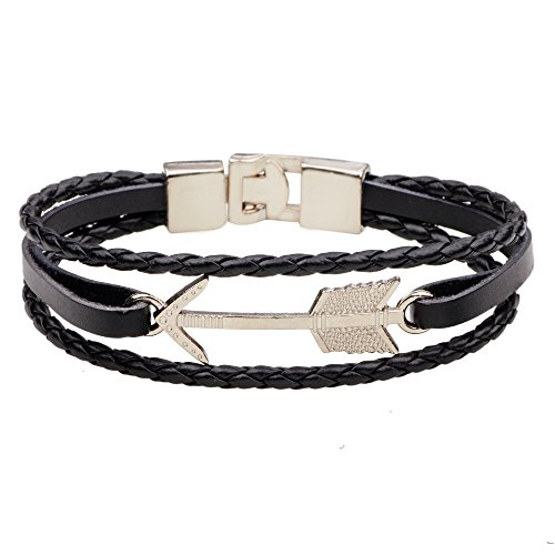 CHUYUN Alloy Arrow Leather Bracelet Black Brown Braided Rope Bangle with Metal Clasp