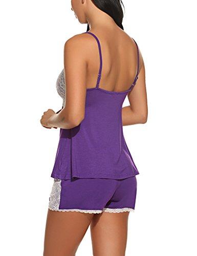 HOTOUCH - Pijama - Sin mangas - para mujer morado