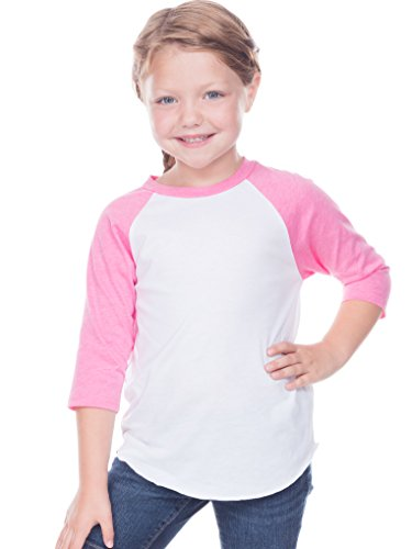 (Kavio! Toddlers Jersey Contrast Raglan 3/4 Sleeve White/Pink Flash 5T)