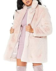 Nhicdns Womens Long Sleeve Winter Warm Lapel Fox Faux Fur Coat Jacket Overcoat Outwear with Pockets