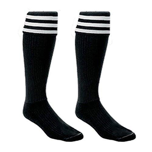 2 Pair Official Stiping Referee Soccer Socks Black (Adult 8-12)