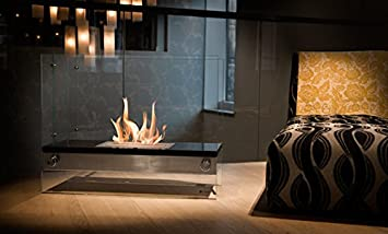 Moda Flame Palermo H Indoor Outdoor Firepit Bio Ethanol Fireplace Black  Bio Ethanol Fireplace