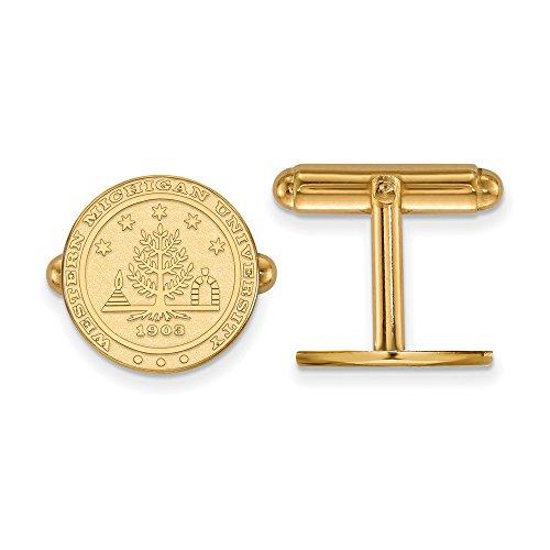 Western Michigan Crest Cuff Links (14k Yellow Gold) by LogoArt
