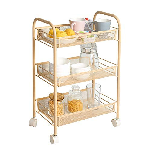 Utility Carts Trolley YXX Gold Beauty Nail Salon Cart Trolley with Tray, Bedroom 3 Tiers Floor Storage Trolley on Wheels (Size : 3 Tier)