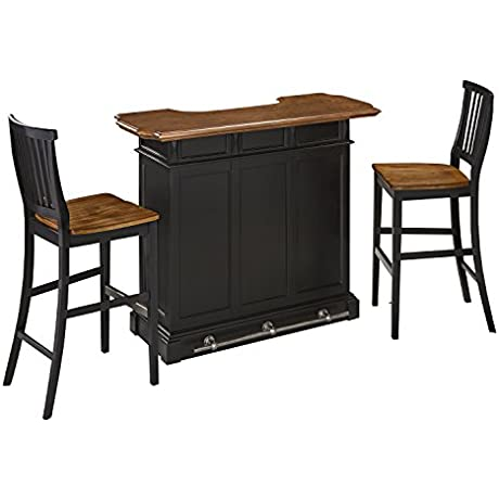 Home Styles Model 5003 998 And Two Stools Black And Oak Finish Americana Bar