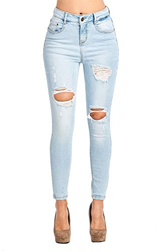 - Blue Age Womes Ripped Destroyed Blue Well Stretch Skinny Jeans High Rise (JP1076HA_SN_11)