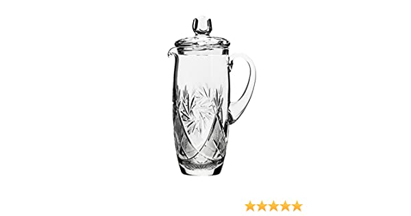 GIFTS PLAZA Set of 7 35-Oz Hand Made Vintage Cut Crystal Beverage Carafe with 6 Tumblers Russian Crystal Pitcher Set Old-fashioned Glassware