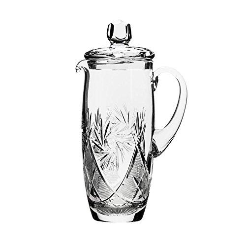 Neman Glassworks, 33.8-Oz Hand Made Vintage Wine Carafe, Russian Crystal Beverage Pitcher, Old-fashioned Glassware