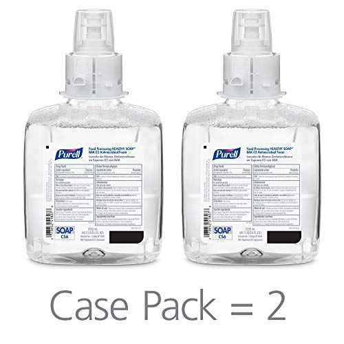 PURELL Food Processing Healthy SOAP BAK E2 Antimicrobial Foam, Fragrance Free, 1200 mL Soap Refill for PURELL CS6 Touch-Free Soap Dispensers (Pack of 2) - 6585-02