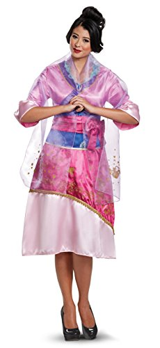 Disney Women's Plus Size Mulan Deluxe Adult Costume, Pink, (Disney Mulan Halloween Costume)
