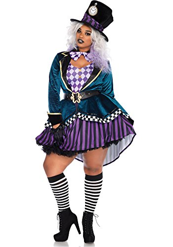 Plus Size Women Halloween (Leg Avenue Women's Plus Size 4 Pc Delightful Hatter Costume, Multi, 3X-4X)