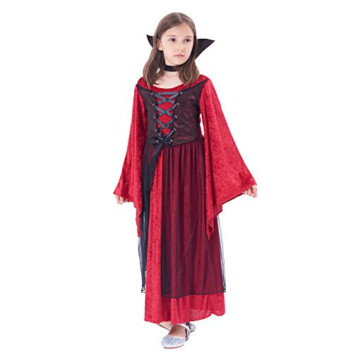 Girls Vampire Costume Outfit, Gothic Princess Robe/Victorian Queen Fancy Dress Up, Bloodsucker Velour Gown for Halloween Party -