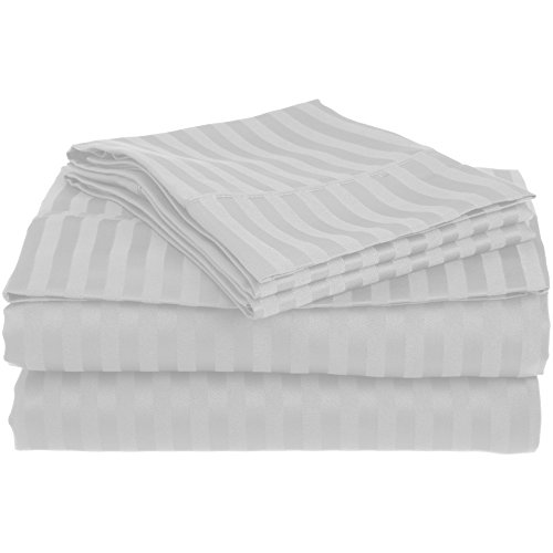 Superior 1500 Series Premium Quality 100% Brushed Soft Microfiber 3-Piece Luxury Deep Pocket Cooling Bed Sheet Set, Classic Sateen Stripe, Wrinkle and Stain Resistant - Twin XL, Chrome (Check Sheets Bed)