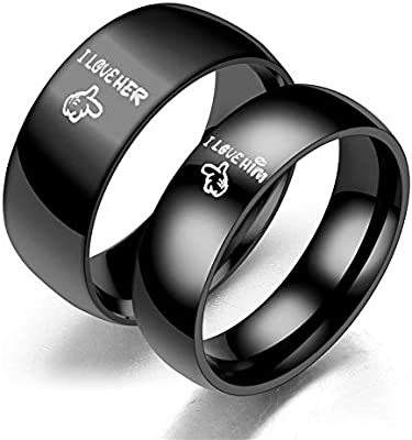 Fashion Stainless Steel Couple Rings Black Crown Couple Jewelry