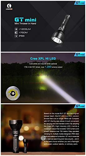 Lumintop GT mini 17W 4.5A FET driver 135000cd CREE XP-L HI neutral white/cold white max 1200 lumen beam throw 750 meters outdoor torch (GT mini + 35E ...