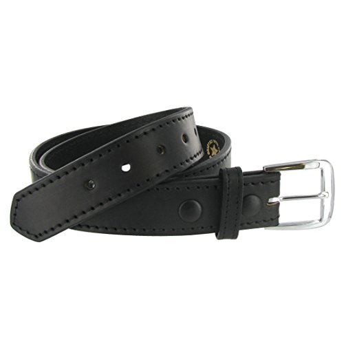 Boston Leather 1.5in. Stitched Edge Belt 40 (Black Leather Edge Stitched Belt)