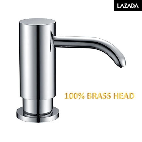 LAZADA Chrome Polished Built In Deck Mount Kitchen Soap Dispenser Pump Large Capacity for Kitchen Sink, Best Brass Head Dispenser - Brass Deck Mount Kitchen Faucet