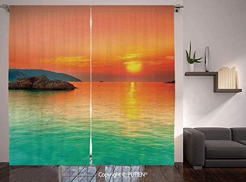 Thermal Insulated Blackout Window Curtain [ Nature,Sunset over the Sea Con Dao Vietnam Sunbeams Colorful Sky Reflection on Water,Orange Mint Green ] for Living Room Bedroom Dorm Room Classroom Kitchen