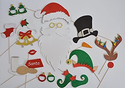 827227bc52d87 Amazon.com  Santa Claus Hat and Beard Photo Booth Props Reindeer ...