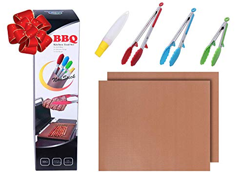 Heavy Duty Non Stick Silicone Tongs - BBQ Copper Grill Mat Set: Stainless Steel Log Kitchen Cooking Tongs with Heat Resistant Tips - Barbecue Baking Grilling Tools As seen on TV - FREE Oil Brush (1)