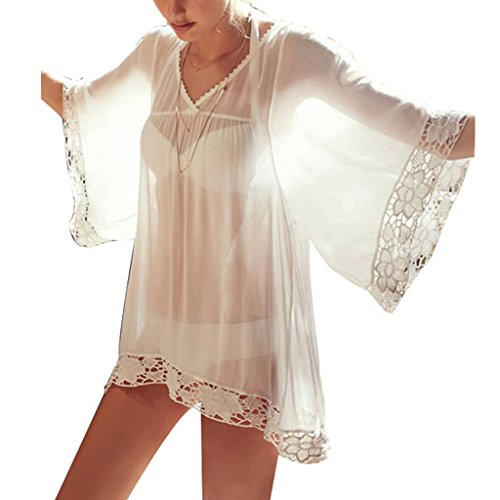 Charming House Women's Loose Crochet Beachwear Dress Cover up (White-Lace) (Charming House)