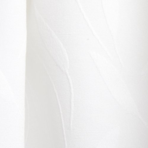 Lorraine Home Fashions Whitfield 52-inch by 18-inch Scalloped Valance, White on White Leaf Pattern