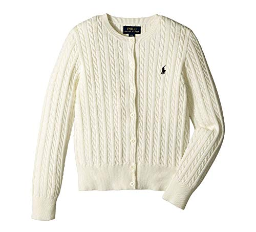 Ralph Lauren Polo Girls Cotton Knit Cable Cardigan Sweater (6X) Cream
