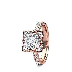 18K Rose Gold 4 Prong Setting Side Stone Halo Engagement Ring Size - 4.75