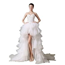 Dearta Women's Ball Gown Sweetheart Chapel Train Wedding Dress UK 8 White