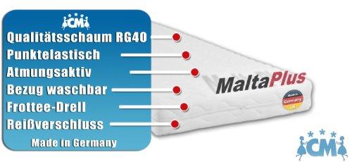 Schaumstoffmatratze MALTA PLUS. Kaltschaum 90 x 200 cm. Matratze mit RG40 Qualitätsschaum. Punktelastisch, atmungsaktiv mit waschbarem Frotteebezug. Schaumstoff Matratze auch geeignet als Babymatratze, Kindermatratze und Jugendmatratze. Made in Germany.