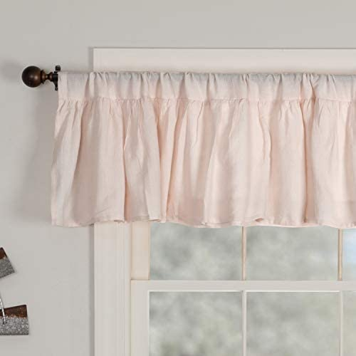 Piper Classics Annabelle Blush Ruffled Valance Curtain, 72 x 16 , Light Pink, Semi-Sheer, Vintage Farmhouse Chic Style Curtain
