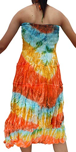 Full Funk Halter Stepped Smock Ladies Tie Dye Mid Length Summer Dress Orange szS