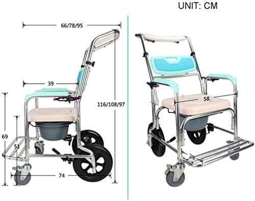 GBX Bewegliche Faltbare Durablefolding Potty Wc Stuhl, Leichte Roll Dusche Kopfendecommode Stuhl | Rollstuhl Mit Runder Schüssel Und Fußstützen | Wc-Sitz Für Senioren, Behinderte, Und Behinderte Nutz