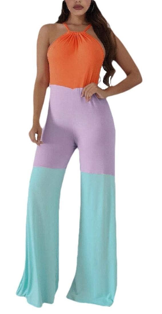 ZXFHZS Women Color Block Sleeveless Halter Neck Wide Leg Rompers